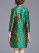 Green Shift Floral-print 3/4 Sleeve Mini Dress