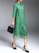 Green Shift Embroidered Casual Silk Midi Dress