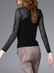 Sheath Paneled Stand Collar Pierced Long Sleeved Top