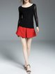 Black Crew Neck Plain Ruched Sheath Long Sleeved Top