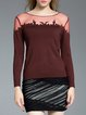Wine Red Plain Casual Paneled Sweater