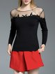 Black Sheath Long Sleeve Paneled Knitted Sweater