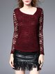 Wine Red Sheath Crocheted Plain Casual Long Sleeved Top