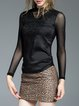 Black Appliqued Stand Collar Casual Long Sleeved Top