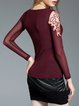 Wine Red Sheath Long Sleeve Crew Neck Blouse