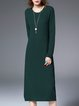 Dark Green Knitted Long Sleeve H-line Sweater Dress