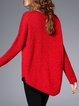 Red Knitted Casual Plain Sweater