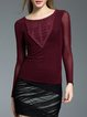 Wine Red Crew Neck Appliqued Casual Sheath Long Sleeved Top