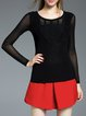 Appliqued Long Sleeve Crew Neck Plain Long Sleeved Top