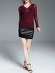 Wine Red Plain Casual V Neck Appliqued Long Sleeved Top