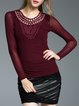 Wine Red Sheath Crew Neck Appliqued Long Sleeved Top
