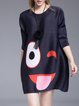 Shift Printed 3/4 Sleeve Polyester Ribbed Mini Dress