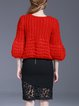 Red H-line Balloon Sleeve Knitted V Neck Sweater