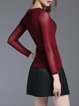 Wine Red Casual Sheath Long Sleeved Top