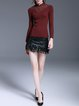 Wine Red Knitted Sheath Ribbed Vintage Sweater