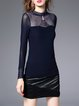 Dark Blue Sheath Stand Collar Plain Long Sleeved Top