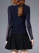 Dark Blue Casual Plain Sheath Long Sleeved Top