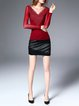 Wine Red Casual Crew Neck Paneled Sheath Long Sleeved Top