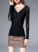 Black Sheath Casual Paneled Long Sleeved Top