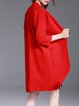 Red Knitted Simple Stand Collar Coat