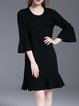 Black Ruffled Simple Sweater Dress