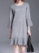 Gray Simple Shift Knitted Sweater Dress