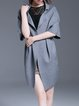 Gray Plain Short Sleeve Knitted Simple Coat