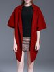 Red Simple Knitted Lapel Plain Coat