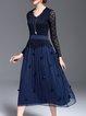 Paneled V Neck Long Sleeve Casual Midi Dress