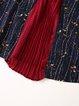 Navy Blue 3/4 Sleeve A-line Printed Paneled Midi Dress