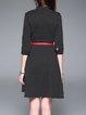 Black 3/4 Sleeve Polka Dots A-line Mini Dress