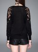 Black Paneled Casual Plain Knitted Long Sleeved Top