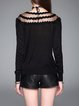 Black Knitted Casual Crew Neck Long Sleeved Top