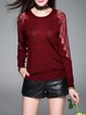 Wine Red Crew Neck Casual Knitted Paneled Long Sleeved Top