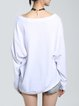 White Casual H-line Printed Long Sleeved Top