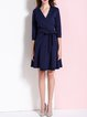 Blue Solid Cotton-blend 3/4 Sleeve Mini Dress