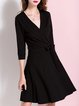 Black Plunging Neck Solid Casual Mini Dress