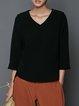 Asymmetrical V Neck 3/4 Sleeve Simple T-Shirt