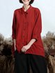 Red Solid Shirt Collar Simple Buttoned Blouse