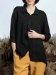 Cotton-blend Buttoned Simple Solid 3/4 Sleeve Blouse