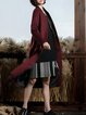 Wine Red Stand Collar Long Sleeve H-line Coat