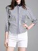 Blue Shirt Collar Casual H-line Cotton Blouse