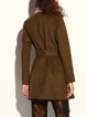 Army Green Long Sleeve Wool-blend A-line Coat with Belt