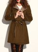 Simple Long Sleeve A-line Wool Blend Lapel Coat with Belt