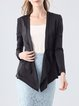Black Long Sleeve Asymmetric Lapel Silk Statement Blazer