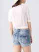 White Embroidered Casual Cropped Top