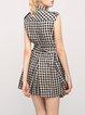 Black Checkered/Plaid Linen Casual Pockets Mini Dress