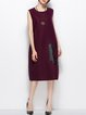 Burgundy H-line Sleeveless Printed Wool-blend Midi Dress