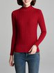Red Casual Ruffled Wool Blend Sweater