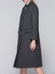 Gray Paneled Wool Blend Long Sleeve Coat